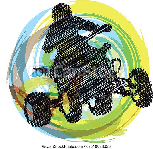 Sketch of Sportsman riding quadbike - csp10633836