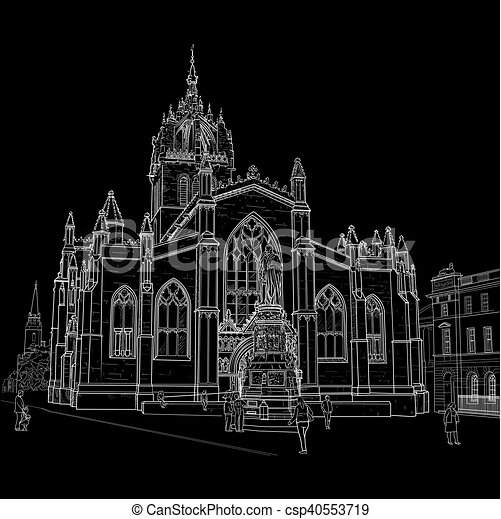 Sketch of St. Giles Cathedral - csp40553719