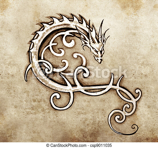 Sketch of tattoo art, decorative dragon  - csp9011035