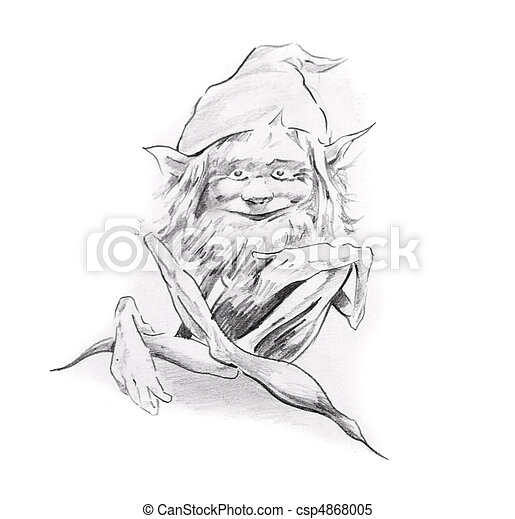 Sketch of tattoo art, gnome - csp4868005