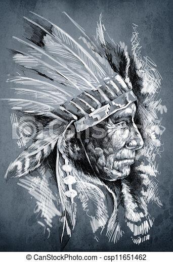 2c9b00f0e Sketch of tattoo art, native american indian head, chief, dirty background  - csp11651462