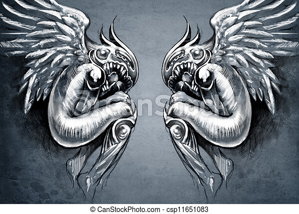 Sketch of tattoo art, two angels, fantasy concept - csp11651083