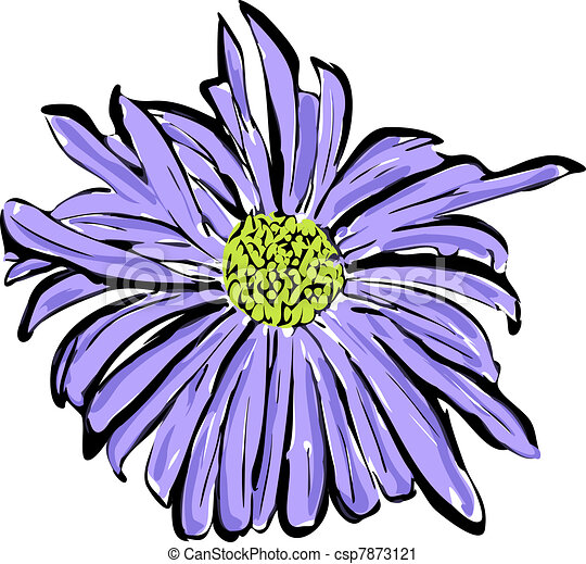 sketch of the blue flower resembl - csp7873121