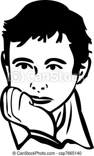 sketch of the boy is thinking - csp7665140