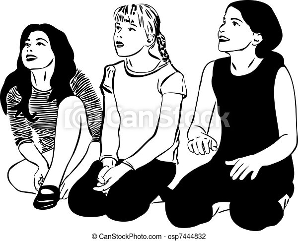 sketch of three women with girlfriends - csp7444832