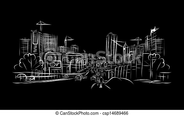 Line Art City : Easy city drawing at getdrawings free for personal use