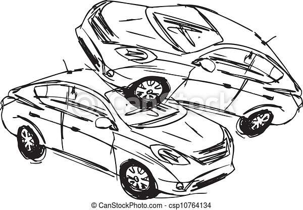 Sketch of two cars in an accident isolated on a white background ...