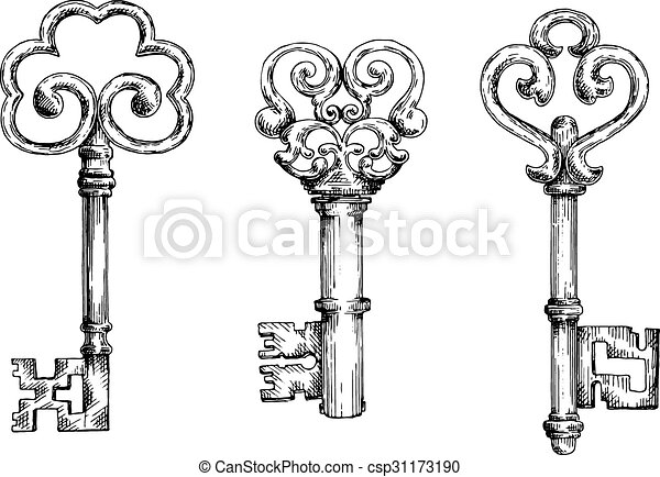 Sketch of vintage keys with curly elements - csp31173190