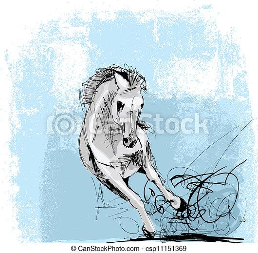 Sketch of white horse running - csp11151369