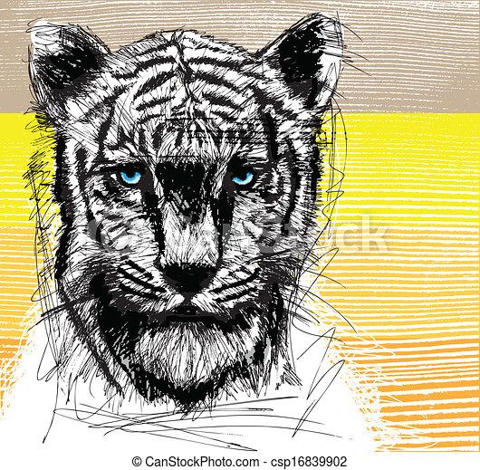 Sketch of white tiger - csp16839902