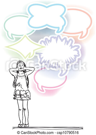 sketch of woman covering ears from loud noise balloons. vector illustration - csp10790516