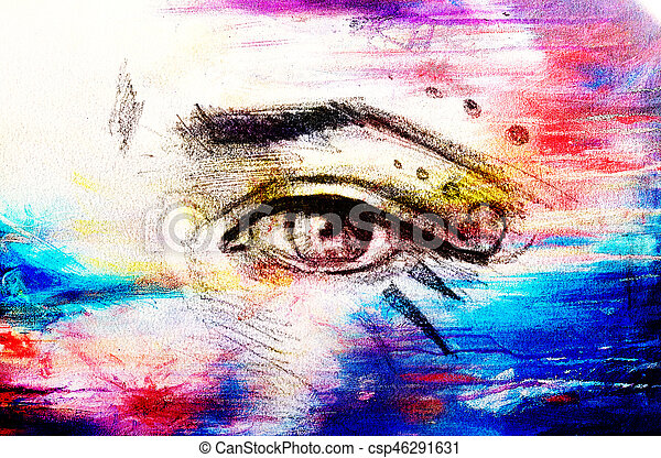 Sketch Of Woman Eye With Eyebrow And Makeup Ornaments Drawing On Abstract Background