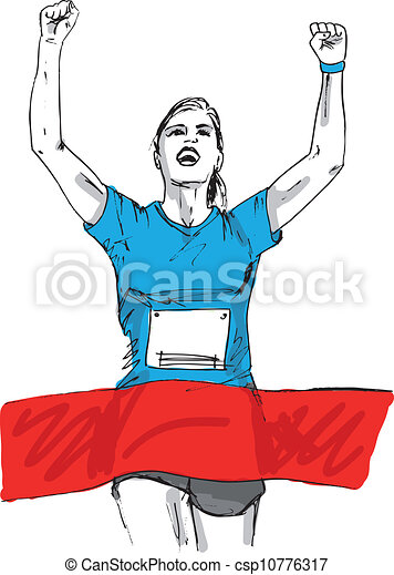 Sketch of woman reaching the finish line in a running event. vector illustration - csp10776317