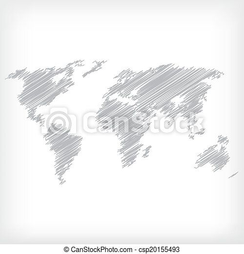 Sketch of world map - vector illustration - csp20155493