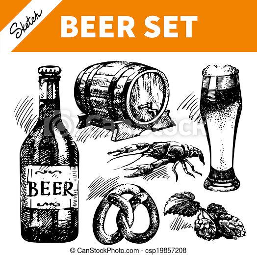 Sketch Oktoberfest set of beer. Hand drawn illustrations  - csp19857208