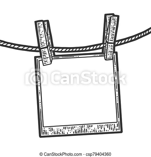 Sketch photo dries on a clothesline. Apparel print design. Scratch board imitation. Black and white hand image. - csp79404360