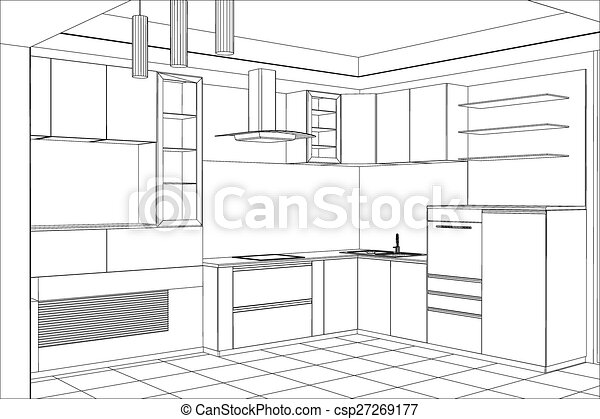 Sketch plan kitchen in the wire - csp27269177
