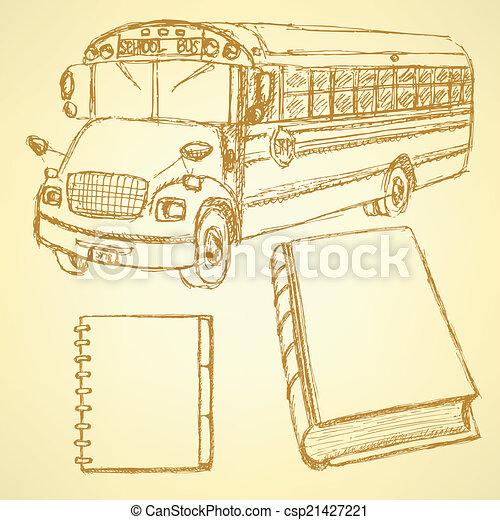 Sketch school bus, book and notebook - csp21427221