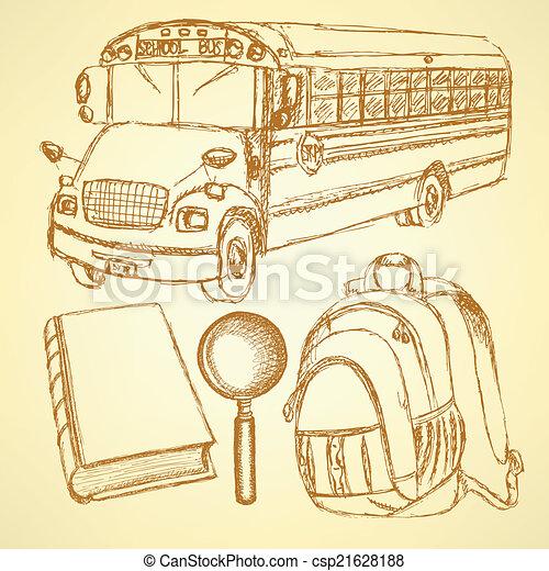 Sketch school bus, zoom, book and notebook - csp21628188