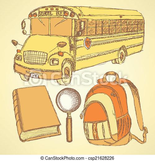 Sketch school bus, zoom, book and notebook - csp21628226