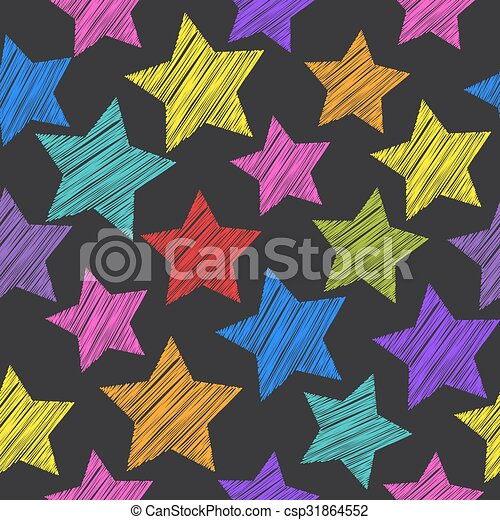 Sketch seamless pattern with stars. Red green orange pink lilac blue stars on black background. Vector - csp31864552