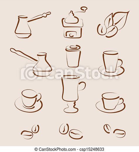 Sketch set coffee design elements - vector - csp15248633