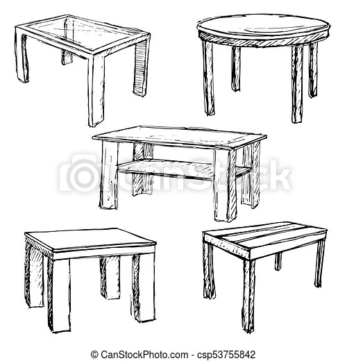 Attirant Sketch Set Isolated Furniture. Different Tables.   Csp53755842