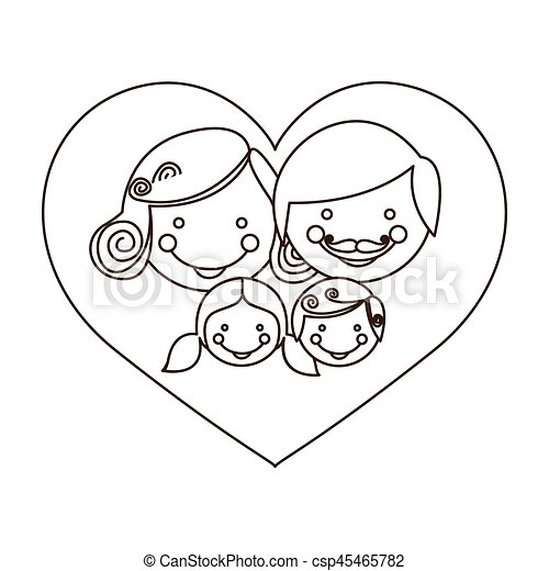 sketch silhouette cartoon heart with family faces - csp45465782
