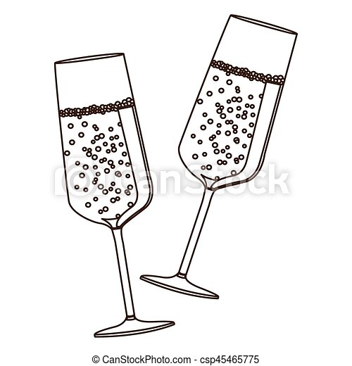 82bf2d6d7c2 Sketch silhouette couple toast champagne glasses vector illustration.