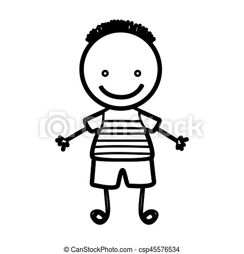 Sketch Silhouette Front View Boy With Hairstyle Vector Illustration