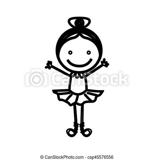 Sketch Silhouette Girl Ballet Dancer Vector Illustration