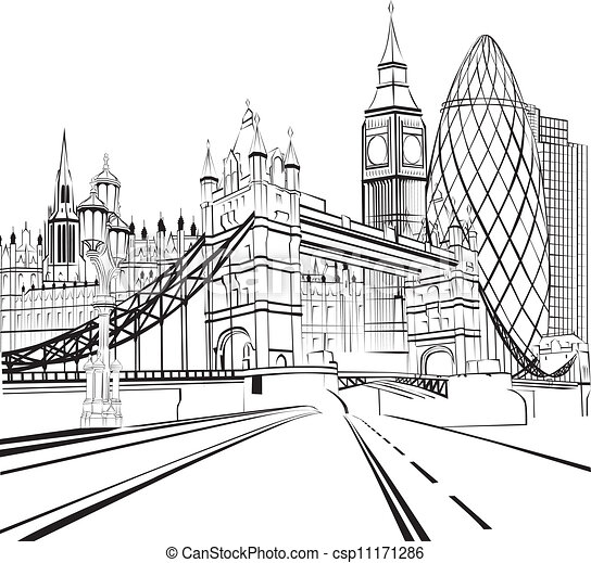 Sketch silhouette of London - csp11171286