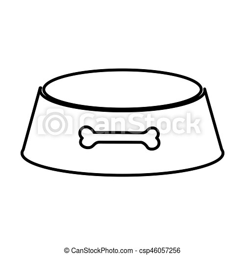 sketch silhouette pet bowl with bone symbol vector clipart vector rh canstockphoto com dog dish clipart dog water bowl clipart