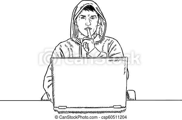 Sketch Style Doodle Of Hacker Sitting In Front Of His Laptop And Saying Shush