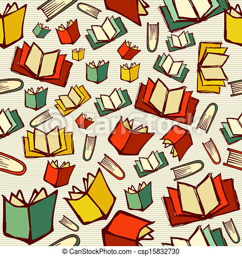 Sketch style hand drawn back to school knowledge concept, open books seamless pattern background. EPS10 vector file organized in layers for easy editing. - csp15832730