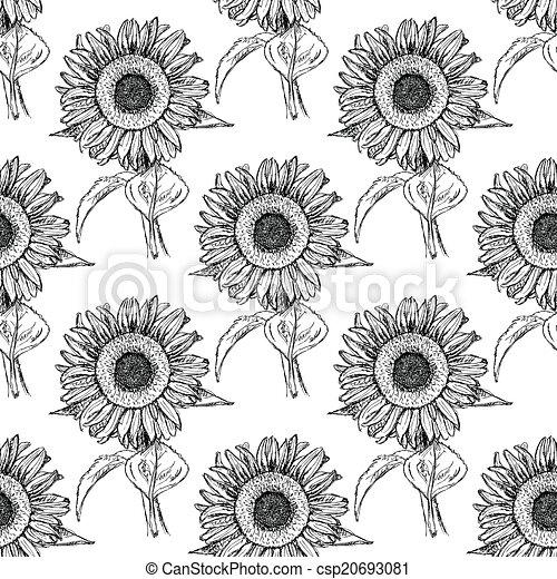 Sketch sunflower, vector vintage seamless pattern - csp20693081