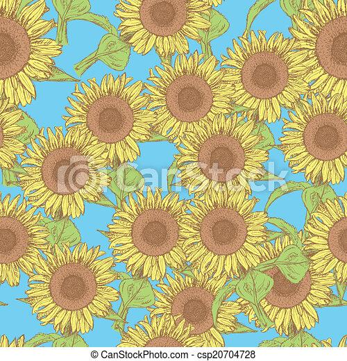 Sketch sunflower, vector vintage seamless pattern - csp20704728