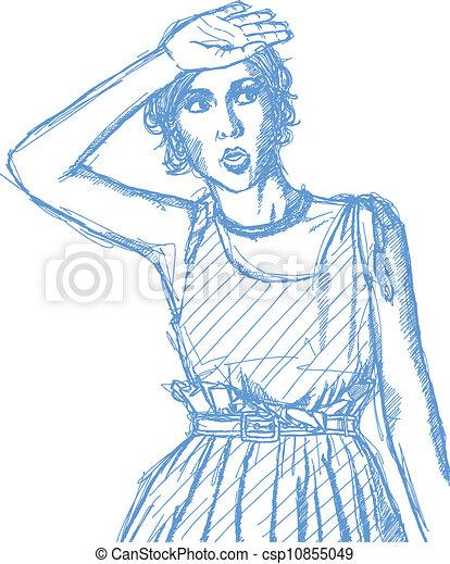 Sketch surprised girl - csp10855049