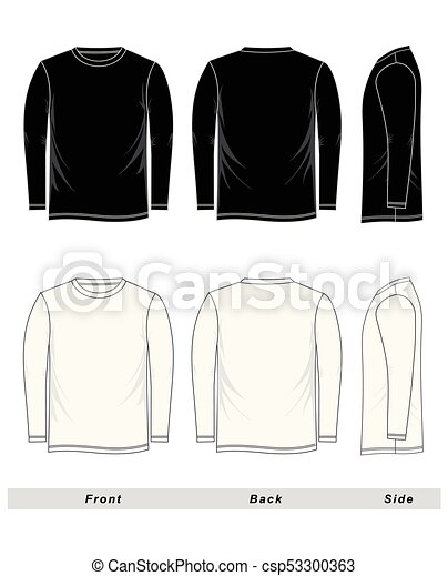 4312115b Sketch T-shirt long sleeve blank, black and white