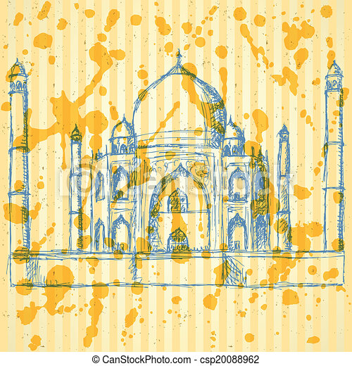 Sketch Taj Mahal, vector vintage background  - csp20088962