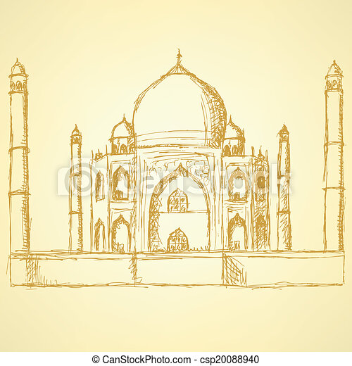 Sketch Taj Mahal, vector vintage background  - csp20088940
