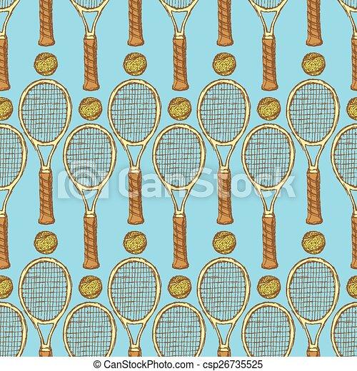 Sketch tennis equipment in vintage style - csp26735525