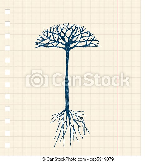 Sketch tree with roots for your design - csp5319079