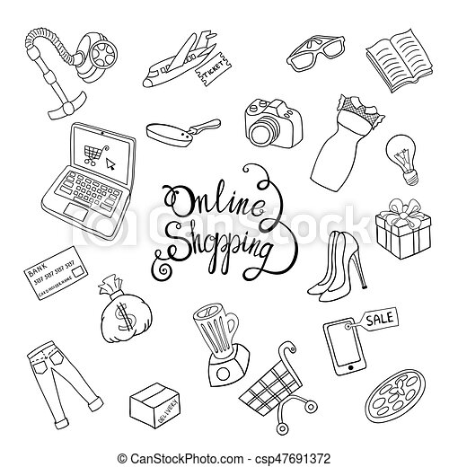 Sketch vector hand draw concept Online shopping