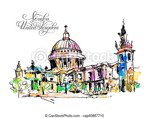 sketch watercolor painting of London top view - csp40887710