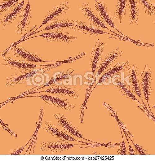 Sketch wheat bran in vintage style - csp27425425