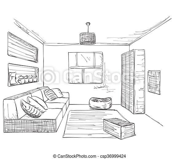 Sketch zimmer hand interior gezeichnet m bel for Sofa zeichnen