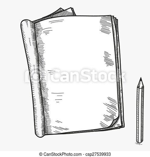 sketchbook, schets, potlood, doodle, duidelijk, kennisgeving, schoolboek, hand, boek, aantekenboekje, opmerkingen, mal, getrokken, plakboek, komisch, open, memorandum, pagina - csp27539933