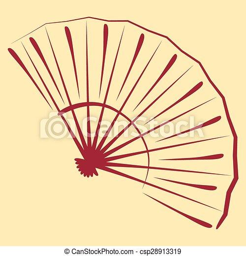 Sketched folding fan. - csp28913319