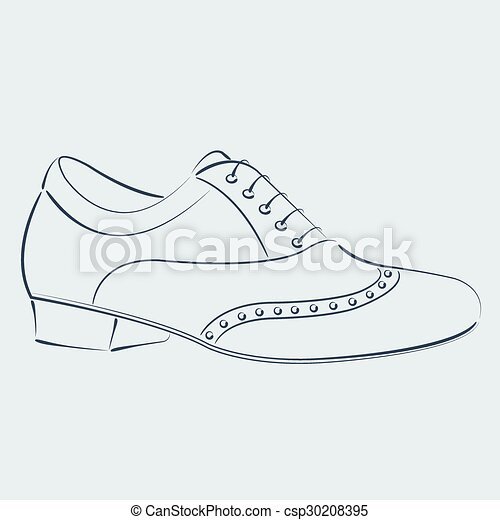 Zapatos de hombre. Elegante dibujó el zapato del hombre